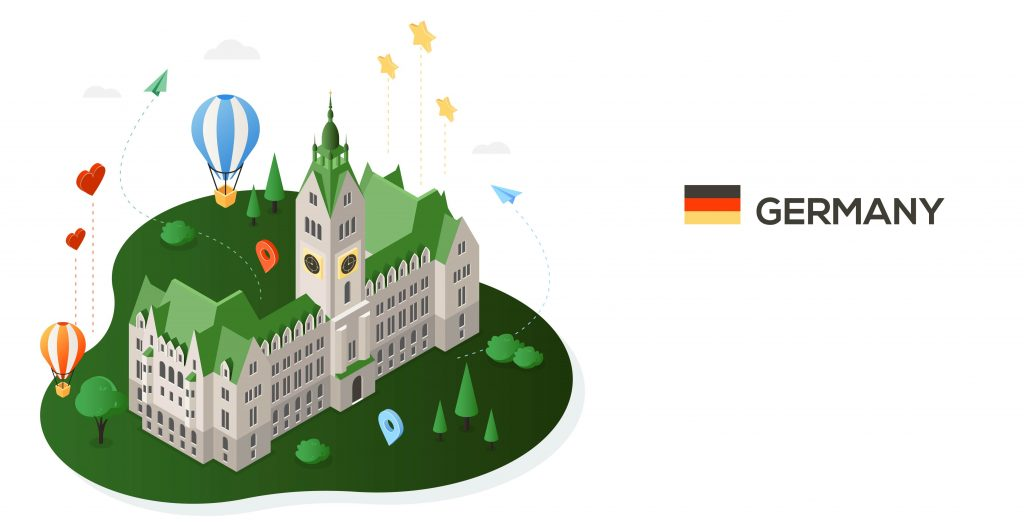 German castle and flag with translation services logo